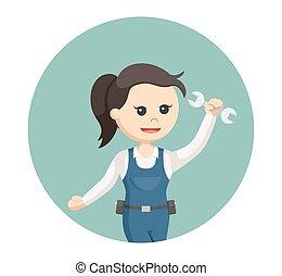 機械工, 女の子, 円, 背景