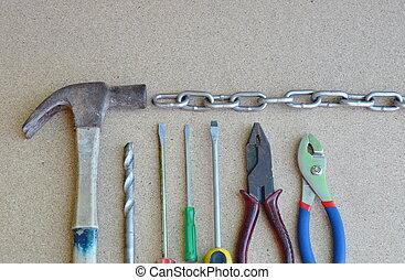 機械工, 道具, 上に, 木製のボード