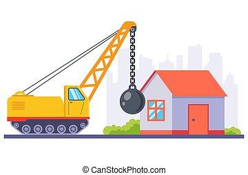 機械類, 古い, 金属, 家, demolishes, 建設, 黄色, ball., 大きい