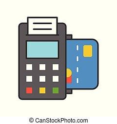 機械, アウトライン, 支払い, クレジット, 満たされた, 方法, カード, アイコン