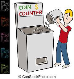 機械, コイン, 数える