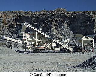 機械, コンベヤー, 採石場, ベルト