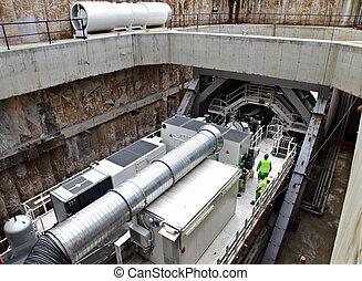 機械, シャフト, トンネル, ボーリングする