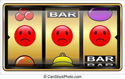 機械, スロット, ギャンブル, 敗者