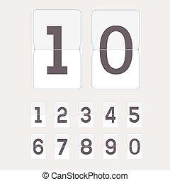 機械, セット, 数字, scoreboard.