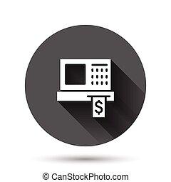機械, ビジネス 実例, 点検, アイコン, style., ラウンド, 支払い, 平ら, ベクトル, concept., 円, 影, effect., 記録, 長い間, ボタン, 現金, 背景, 黒
