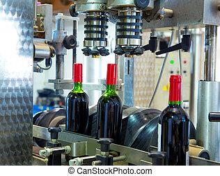 機械, ビンに詰めること, 赤, ワイン醸造工場, ワイン