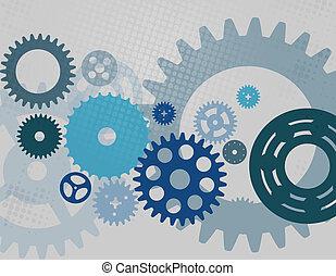 機械, ベクトル, ギヤ, pattern., 車輪, はめば歯車, illustration.