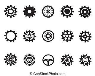 機械, ベクトル, silhouetted, ギヤ