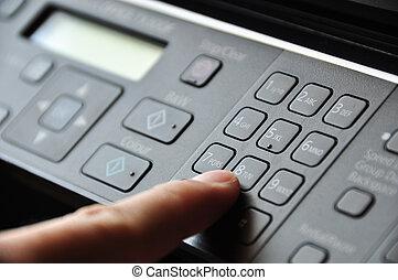 機械, ボタン, アイロンかけ, コピー, 手