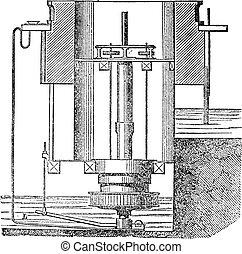 機械, 中, engraving., タービン, 型