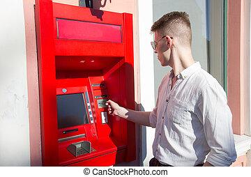 機械, 使うこと, 人, 現金, 若い