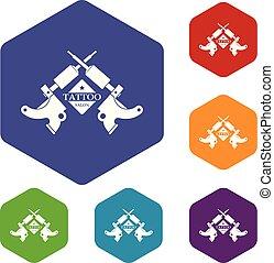 機械, 入れ墨, hexahedron, ベクトル, アイコン