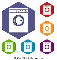 機械, 六角形, セット, 洗浄, アイコン