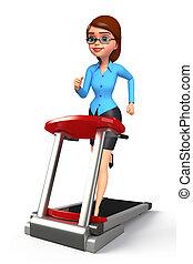 機械, 女の子, 歩くこと, 若い, オフィス