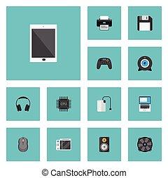機械, 平ら, セット, コンピュータ, elements., 冷却器, アイコン, マウス, 含む, シンボル, また, ベクトル, 電話, objects., 他, メガホン, palmtop, pc