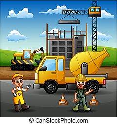 機械, 建築工事, 労働者, クレーン