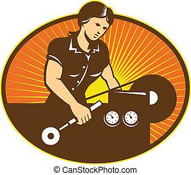 機械, 旋盤, 労働者, 女性, 機械工