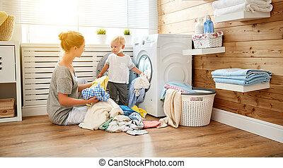 機械, 洗濯物, 洗浄, 主婦, 家族, 荷を積みなさい, 幸せ, 子供, 母