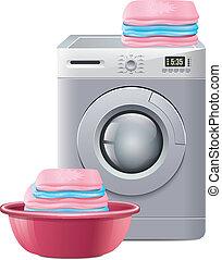 機械, 洗濯物, 洗浄
