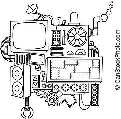 機械, 線画