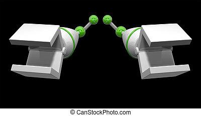 機械, 腕, 前方へ, 手を伸ばす