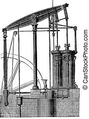 機械, 蒸気, engraving., 2, 型, シリンダー