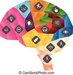 機能, 中央である, アイコン, system., 神経質, イラスト, polygonal, 脳, ベクトル