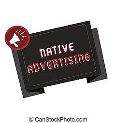 機能, 写真, 広告, 形態, web ページ, テキスト, 提示, 支払われた, 印, advertising., オンラインで, 概念, マッチ, ネイティブ