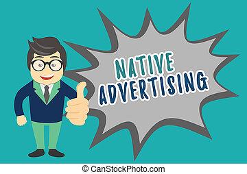 機能, 広告, ビジネス, web ページ, 写真, 提示, 支払われた, 執筆, メモ, advertising., 形態, オンラインで, showcasing, マッチ, ネイティブ