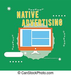 機能, 広告, ビジネス, web ページ, 写真, 提示, 支払われた, 執筆, 概念, 形態, オンラインで, advertising., 手, テキスト, マッチ, ネイティブ