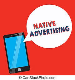 機能, 広告, ビジネス, web ページ, 写真, 提示, 支払われた, 執筆, advertising., 形態, 手, オンラインで, showcasing, 概念, マッチ, ネイティブ