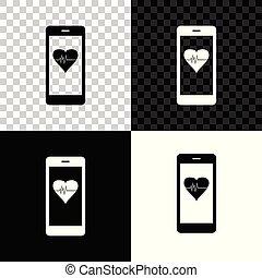 機能, 心, smartphone, モニター, 隔離された, イラスト, バックグラウンド。, レート, ベクトル, 黒, 白, 透明, アイコン