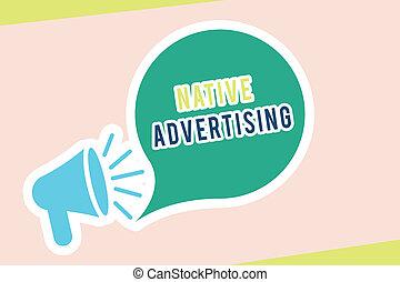 機能, 概念, 単語, 広告, ビジネス, web ページ, テキスト, 支払われた, 執筆, 形態, オンラインで, advertising., マッチ, ネイティブ