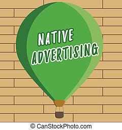 機能, 概念, 広告, 形態, web ページ, テキスト, 支払われた, 執筆, 意味, オンラインで, advertising., 手書き, マッチ, ネイティブ