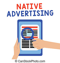 機能, 概念, 広告, 形態, web ページ, テキスト, 支払われた, 意味, オンラインで, advertising., 手書き, マッチ, ネイティブ