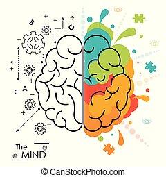 機能, 権利, 心, 脳, デザイン, 人間, 左