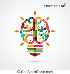 機能, 権利, 考え, 創造的, 脳, 背景, infographics, 左