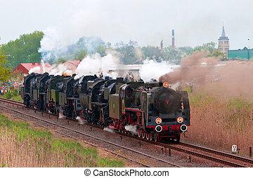 機関車, 古い, 蒸気