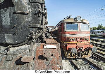 機関車, 古い, 蒸気, 詳細