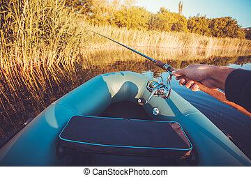 橡膠, 人, 湖, 小船, 釣魚