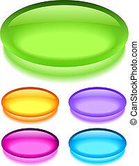 橢圓形, 玻璃, 按鈕