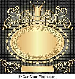 橢圓形, 葡萄酒, 框架, 金