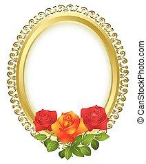 橢圓形, 黃金, 框架, 由于, 玫瑰
