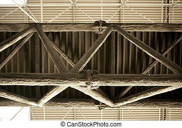 橫樑, 白色, 玻璃, 纖維, 薄層, 保護, applyed, 到, 鋼, 結构, 針對, 火