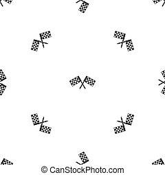 橫渡, 被 chequered, 旗, 圖案, seamless, 黑色