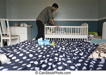 檢查, 上, 睡覺, 嬰孩