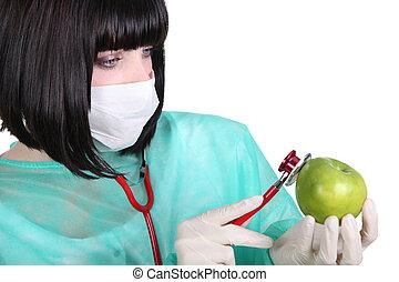 檢查, 女性, 軍醫, 蘋果, 脈衝
