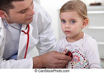檢查, 很少, 女孩, 醫生