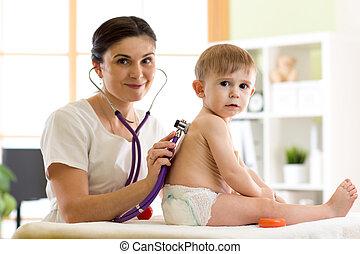 檢查, 很少, 男孩, 醫生, 儿科醫生, 孩子, 孩子